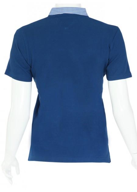 Gömlek Yaka T-Shirt Lacivert - Lacivert Beyaz