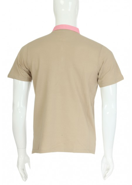 Gömlek Yaka T-Shirt Bej - Fuşya