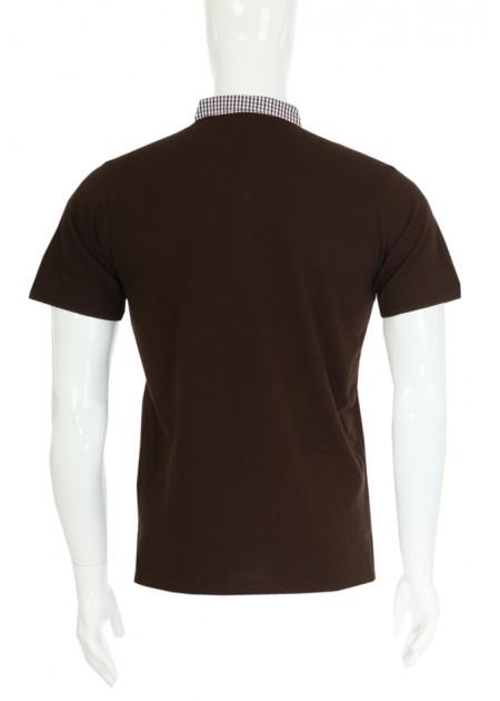 Gömlek Yaka T-Shirt Kahve / Lacivert Beyaz