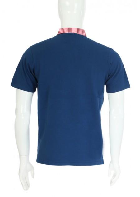 Gömlek Yaka T-Shirt Lacivert - Kırmızı
