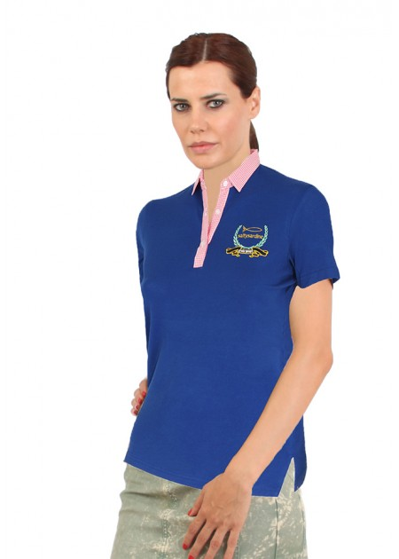 Gömlek Yaka T-Shirt Mavi / Fuşya
