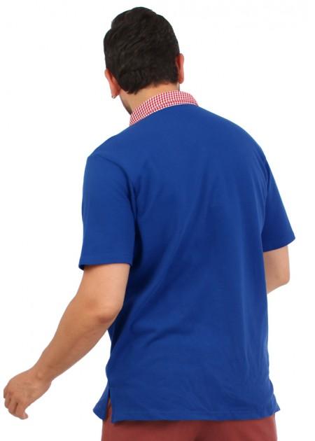 Gömlek Yaka T-Shirt Mavi / Kırmızı
