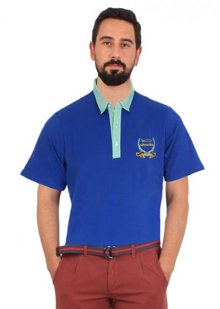 Gömlek Yaka T-Shirt Mavi / Yeşil