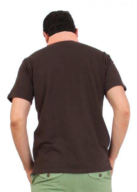 Gömlek Yaka T-Shirt Kahve / Turuncu