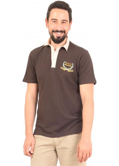 Gömlek Yaka T-Shirt Kahve / Bej