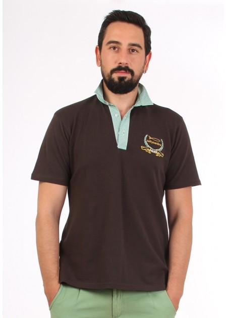 Gömlek Yaka T-Shirt Kahve / Yeşil