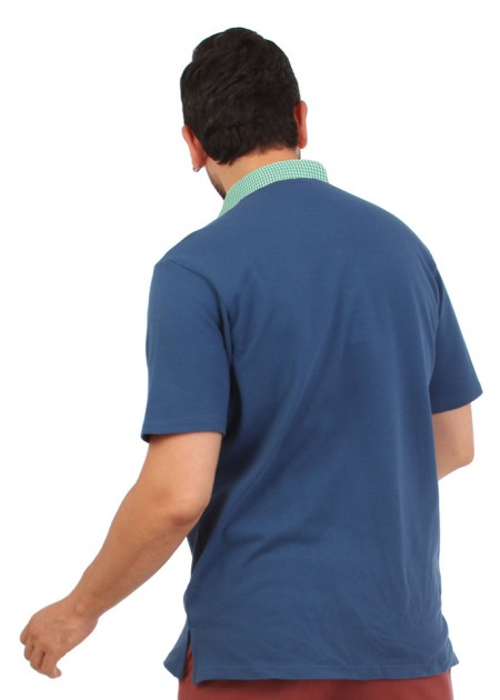 Gömlek Yaka T-Shirt Lacivert - Yeşil