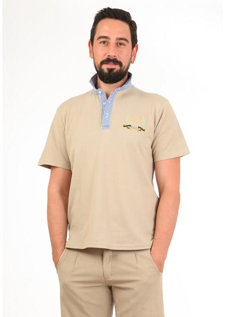 Gömlek Yaka T-Shirt Bej - Lacivert