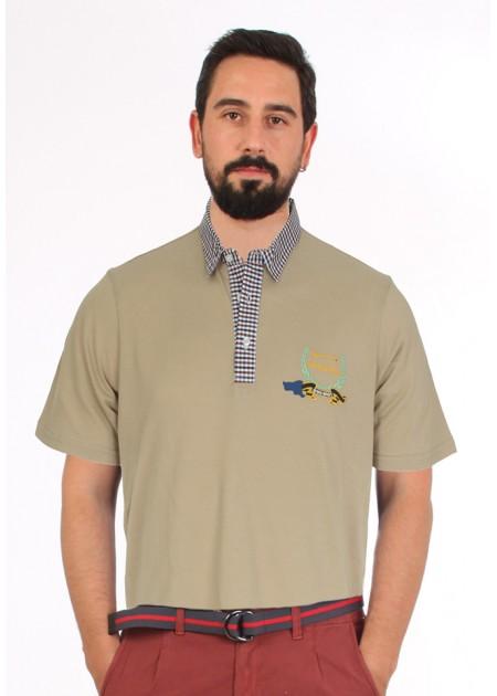 Gömlek Yaka T-Shirt Bej - Lacivert Beyaz