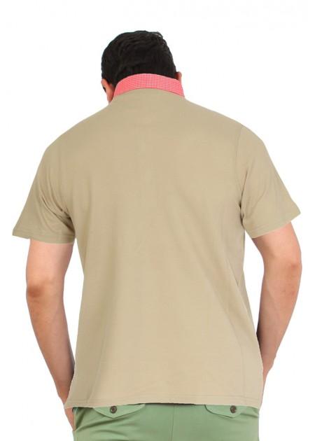 Gömlek Yaka T-Shirt Bej - Kırmızı