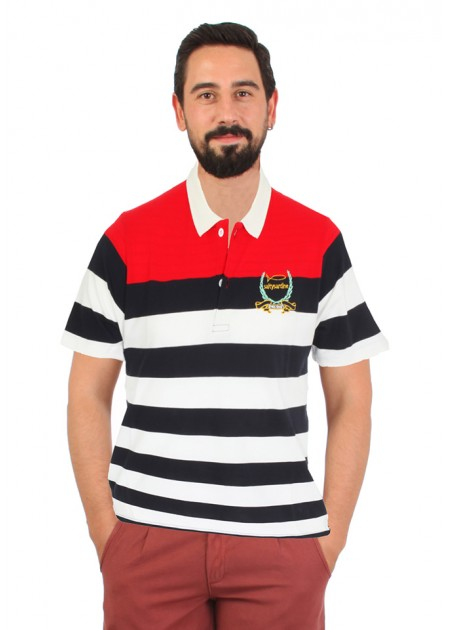 Polo T-shirt Red White Line